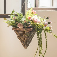 Cone shape hanging basket hand woven cheap wicker hanging basket for sale