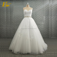 2018 New Arrival Bridal Dresses Sweetheart Sleeveless Beaded Waist Wedding Gowns with Appliques