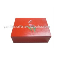 Red square wooden gift box