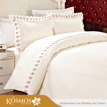 KOSMOS Bedding Polycotton Embroidery Lace Bedsheets Handmade Bed Sheets
