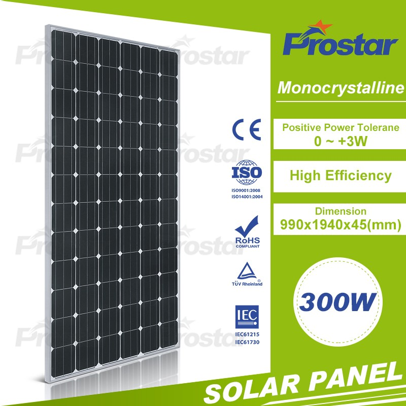 High efficiency mono 300w solar module/ bipv with TUV IEC CE ISO certified
