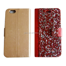 New products 2016 high quality diamond bling leather flip wallet case cover for iphone 6/7