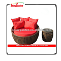 Shinygarden Outdoor Patio Sofa Furniture Round Daybed Brown Wicker Rattan