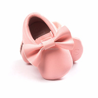 factory fringe pu leather moccasins bow baby shoes wholesale