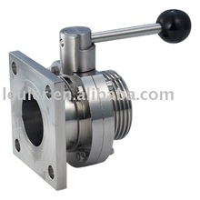 Sanitary Stainless Steel Flanged Butterfly Valve with Pull type handle 304/316L