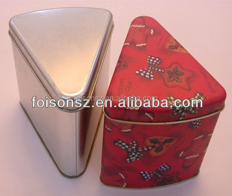 triangle shape special custom made candy packaging tin box