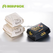 Disposable cardboard hamburger box custom printed hamburger packing box