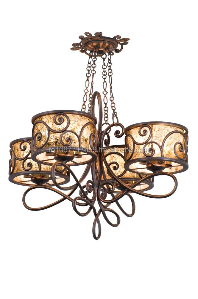 Kalco 5414AC/S242 Windsor 16-Light Chandelier, Antique Copper Finish with Stained Mica Shades