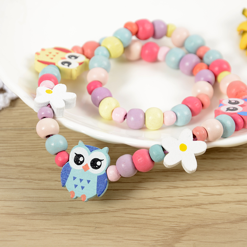 latest design spray paint colour mix candy wood material owl kids necklace set
