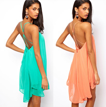 Sexy buckles cross skirts women sleeveless pure color chiffon dresses