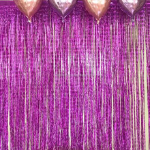 party background fringe decorations metallic shimmering foil tassel curtains
