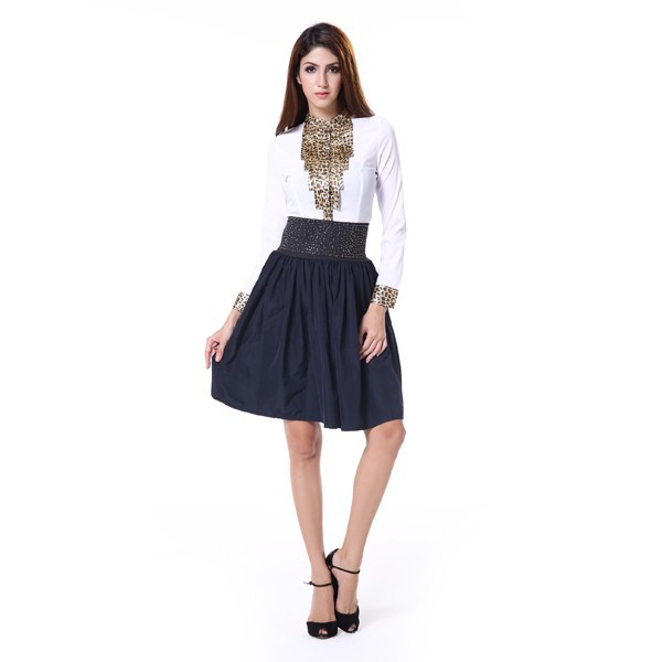2015 New Womens A-line Skirt Retro Elastic High Waist Pleated Short Mini Skirts