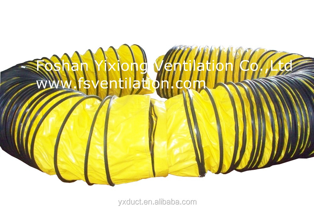 yellow PVC Fire-retardant air duct connected with zipper