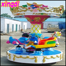 Children merry go round amusement park games 3 seats mini carousel for sale