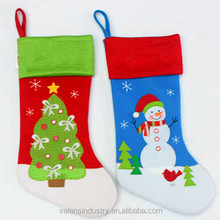 Handmade Wholesale Fashion Santa Claus Christmas stocking With Christmas Tree and Snowman Decoration