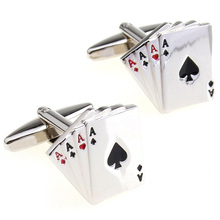 Fashion mens silver tie clips pin sets cufflinks playing card shirt cufflink