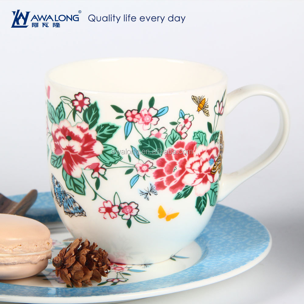 grace flowers design sublimation mug household coffee mug <strong>ceramic</strong>