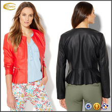 Ecoach 2016 Long Sleeve Zipper Front Closure 100% PU Pleated Women's Jacket Coat