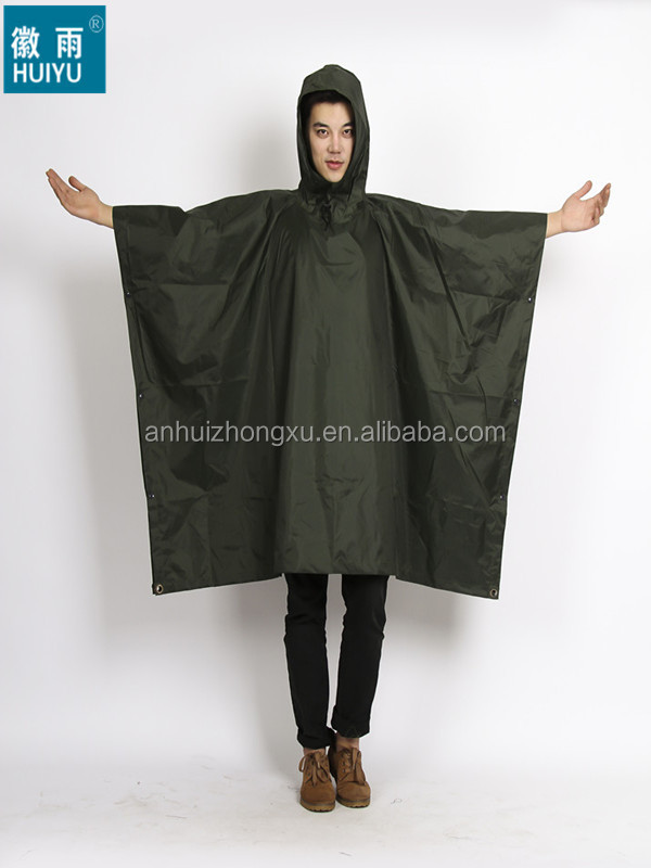 100% polyester or oxford camouflage raincoat poncho for army military outdoor workplace bicycle motorcycle poncho