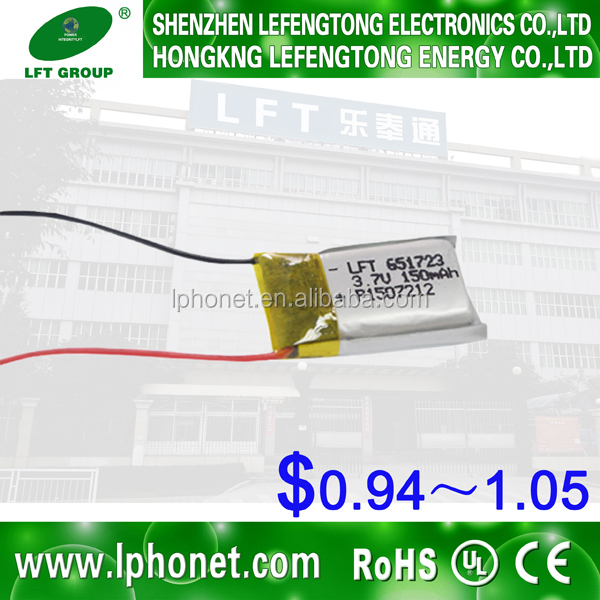rc 3 7 v li-ionen-polymer-akku 651723 150 mah for high rate discharging goods
