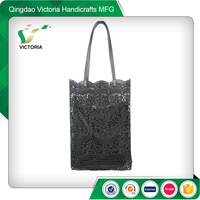 chinese black lace clutch tote handbag
