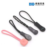 New Design Logo Soft PVC Plastic Zipper Puller with Strong Nylon Cord for Sport clothing Handbags and Luggage use