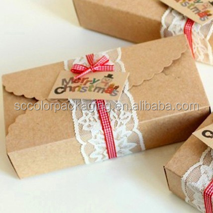 Kraft Brown Paper Scalloped Small Box - Wedding/ Party Favor - Soap/ Cake/ Macaron/ Cookie Packaging - Gift Box 30pcs/lot