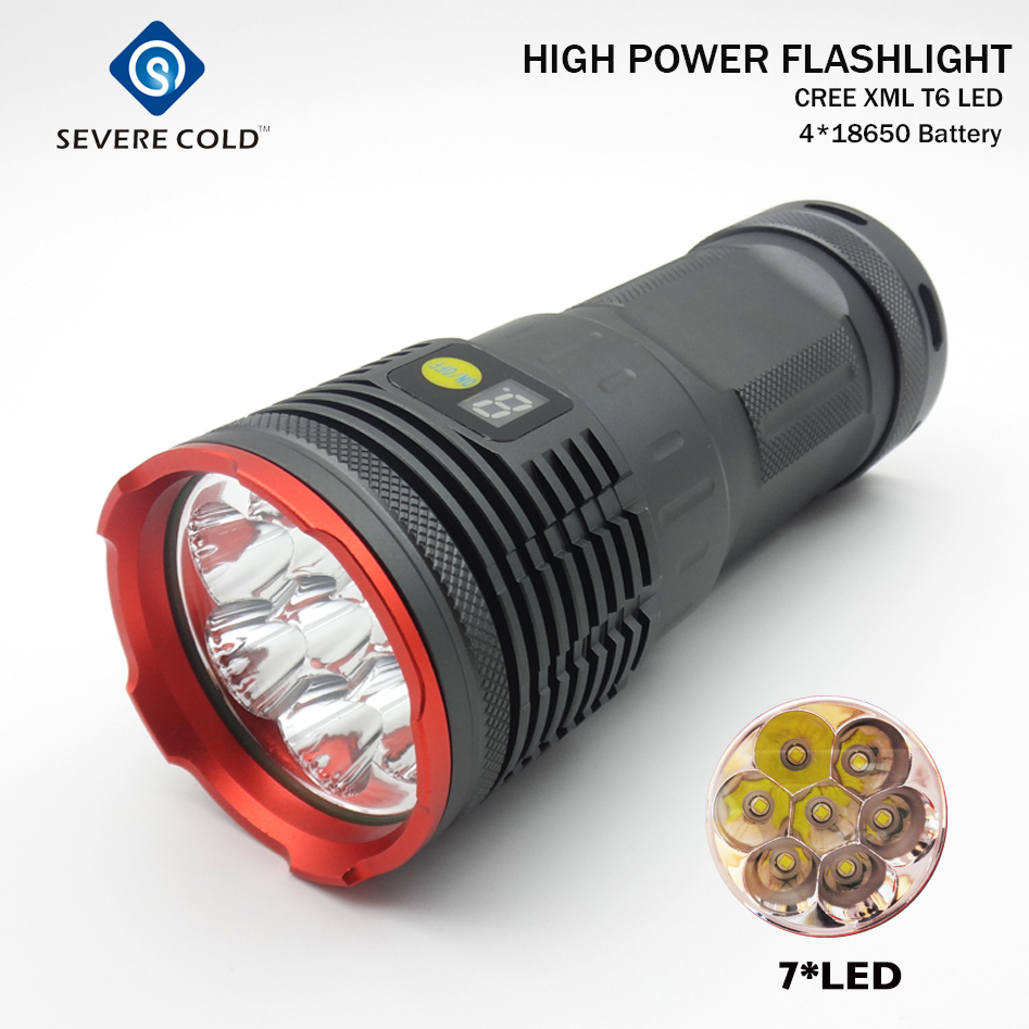 20000lm High Power LED Flashlight 7xCREE XM-L T6 Battery Indicate LED Hunting Camping Flashlight Flash Torch Lamp Torch