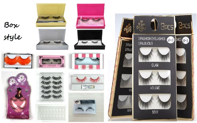 newest design natural looking soft beauty silk false eyelashes boxes for cosmetics
