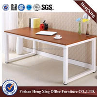 Cheap simple wooden office computer table with white metal leg (HX-5DE306)