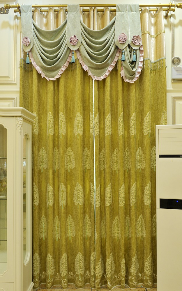 cheap green color chenille curtain fabric with simple leaf embroidery design