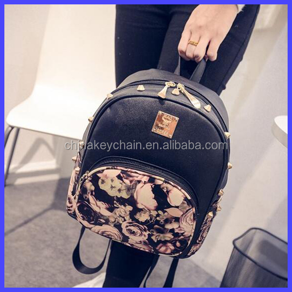 2016 Fashion Leather Printing Flower <strong>Backpack</strong>