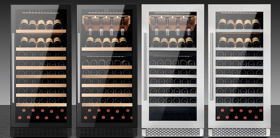 Large black dual zone built in front vent decorative lockable digital red wine cooler for kitchen