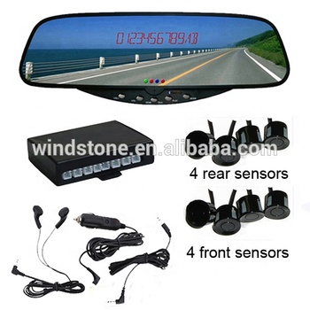 Hot Sale Rear Reversing Sensor Bluetooth Rearview Mirror Handsfree Car Kit With 8 Parking Sensor