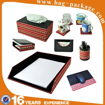 China wholesale luxury MDF desk set office leather stationery set