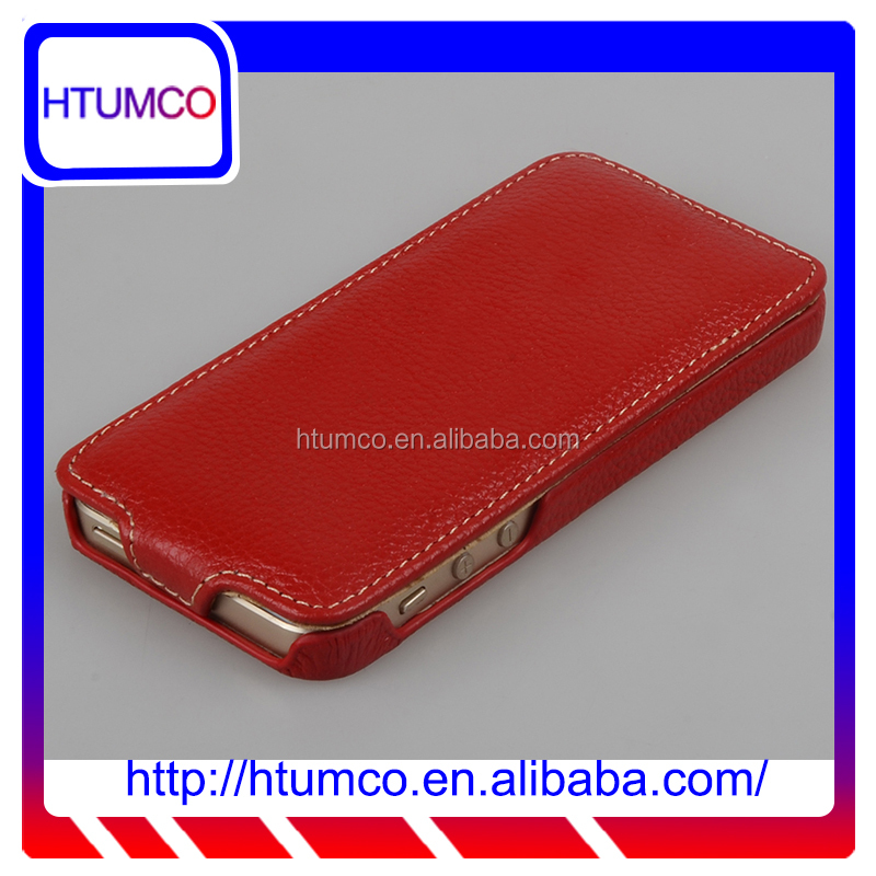 Luxury leather case phone case for Apple iPhone5 (Red LC Normal)