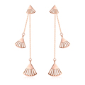 Guangzhou 18k rose gold fashion long chain shell earrings for girl