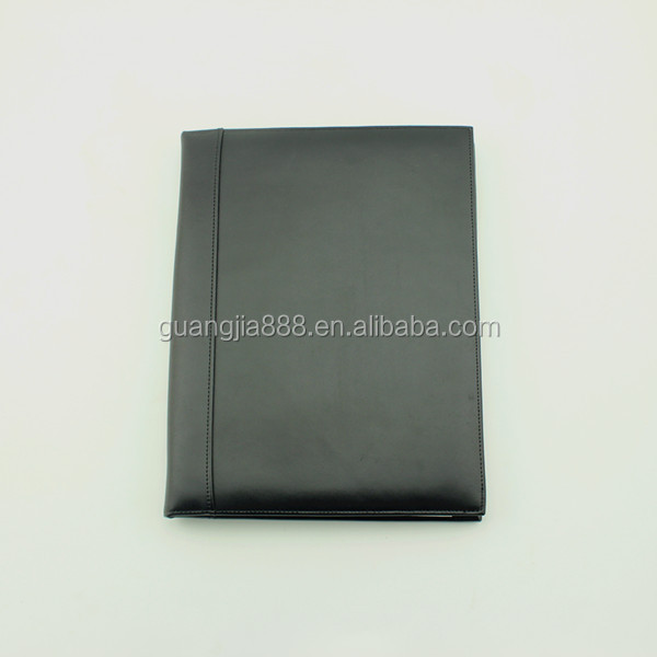A4 black leather portfolio with notepad
