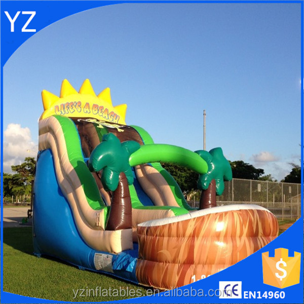 Palm tree inflatable dry slides on sale giant dry slide