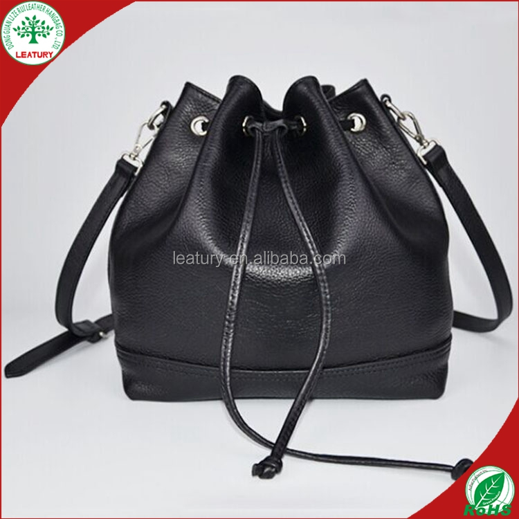 2015 fashion cheap drawstring genuine leather pu woman shoulder bucket bag