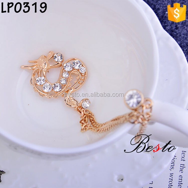 China factory wholesale handmade dragon shape souvenir metal pin with chain