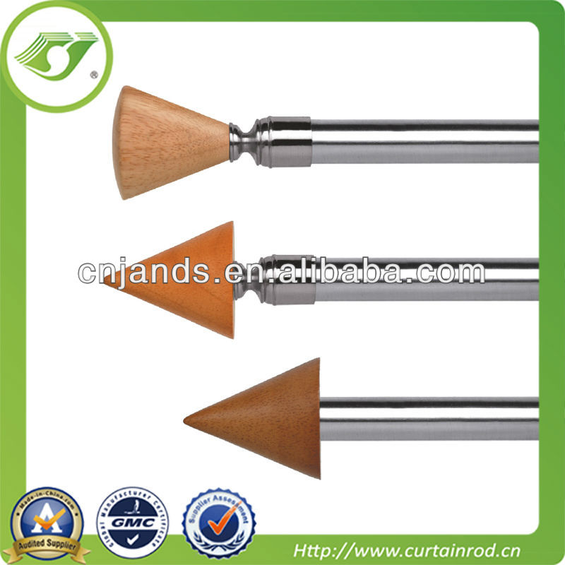2016 hot sell wood curtain rods factory/Wood finial curtain rod