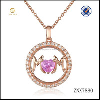 Wholesale High quality jewelry crystal rose gold plated 925 sterling silver mom pendant necklace