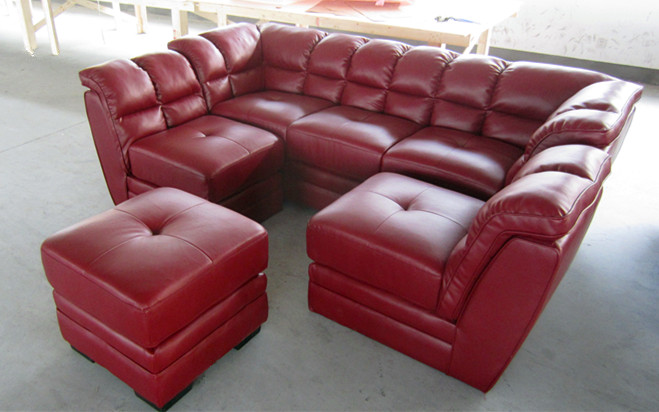 Cheap Red L Shaped Sofa Half Round Sectional Leather Sofa