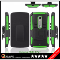 Keno PC+Silicone Hybrid Holster Cell Phone Cover for Motorola Moto X Play, Mobile Case for Motorola Moto X Play