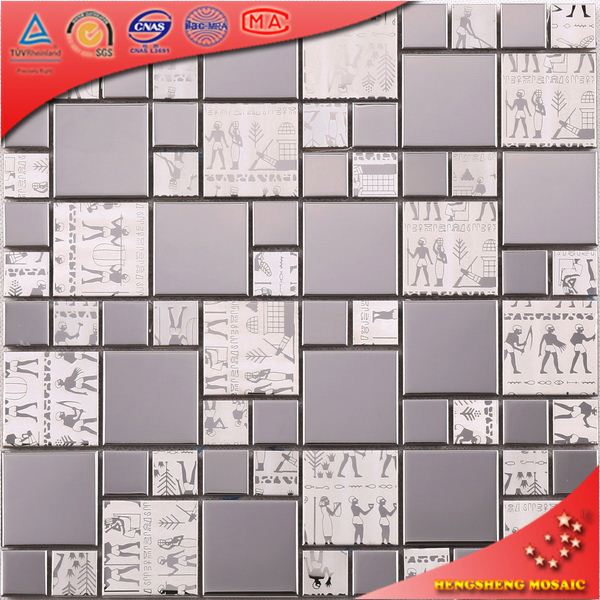 sliver dragon pattern glass mosaic stainless steel mosaic for mosaic kitchen backsplash SA21