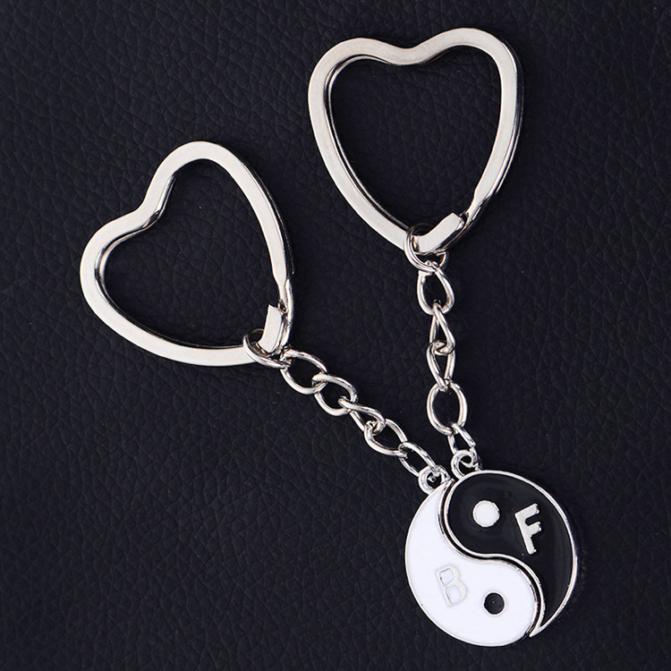 Black And White Enamel China yin yang keychain heart shape key rings holder