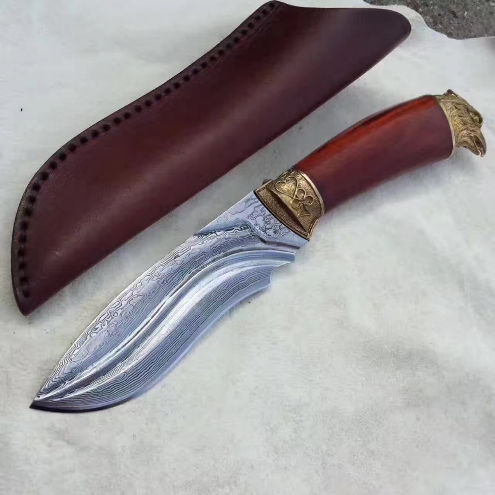 Damascus Steel Fixed Blade <strong>Knife</strong> with sanders handle