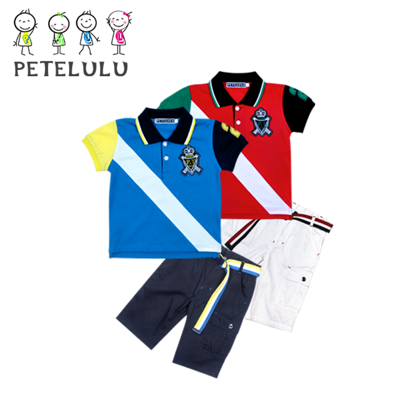 2017 Summer Kids Clothes 100% Cotton Metal Zip Boys Blue Polo Shirt Sets For Boy