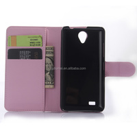 Lichee Ultra-slim premium flip PU cover folio stand leather case with auto sleep& weak for Lenovo A3800D pink color